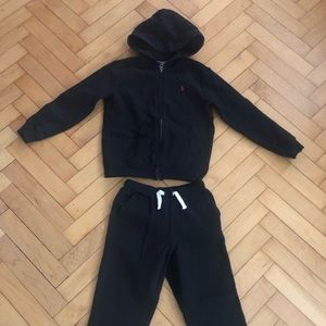 Boys Black Polo Sweatsuit